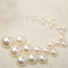 300 stücke 4/6/8/10/12/14mm Weiß Halb Perle Perlen DIY Nachahmung garment Beads Perle ABS Halbe Runde Perlen Handwerk Sammelalbum Perlen