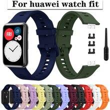 Correa de silicona para Huawei Watch FIT, accesorio de reemplazo de pulsera de reloj inteligente, Correa suave