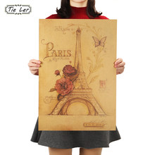 Wall Decals Butterfly Paris Eiffel Tower Paper Wall Sticker Home Decor Vintage Painting Poster(China)