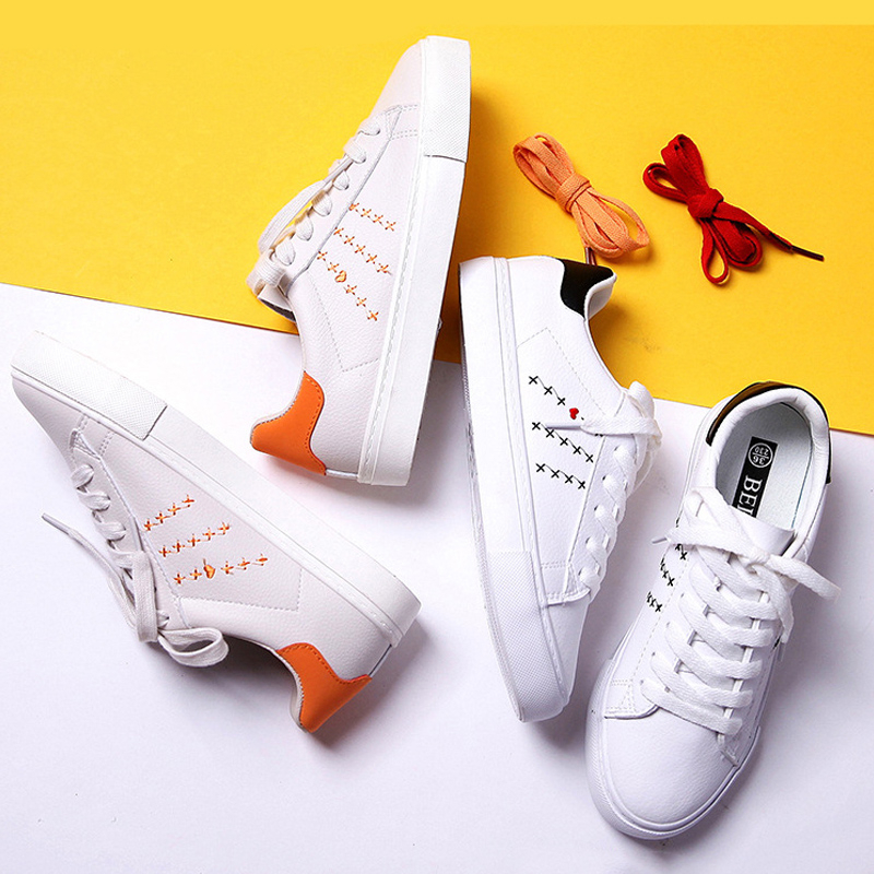 Flats Casual Women Shoes 2020 Spring New Fashion Women Leather Shoes Comfortable Breathable Sneakers Women Vulcanize Shoes