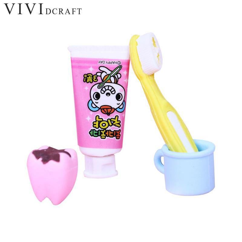 4pcs / Set New Fashion Creative Toothbrush Tooth Shaped Pupils Gift Rubber Cute Stationery Supplies Eraser Kid Papelaria Es V9V6