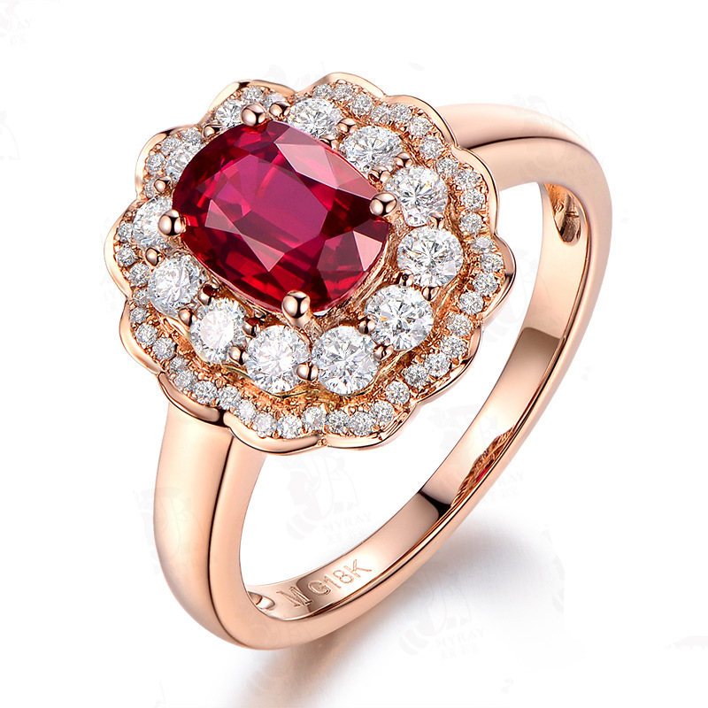 Luxury Red Crystal Oval Rose Gold Women's Adjustable Wedding Ring