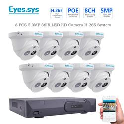 Augen. sys H.265 8PCS 5,0 MP 2560*1920P IR Outdoor IP Nachtsicht ARRAY Kamera CCTV POE HDMI NVR P2P Sicherheit System Kit