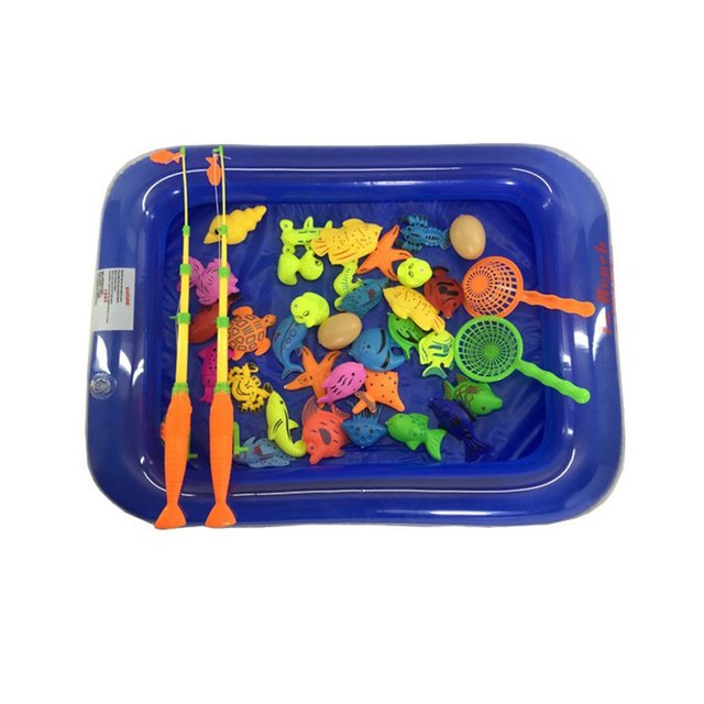 39Pcs Set Plastic Magnetic Fishing Toys Baby Bath Toy Fishing Game 1 poor 2 Poles 2 Nets 35 Magnet Fish Indoor Outdoor Fun Baby 3