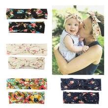 2 Pçs/set Mom & Baby Headbands Turbante Bebê Mãe Filha Mãe Impressão Pai-Filho Orelhas de Coelho Hairband Floral Acessórios Para o Cabelo