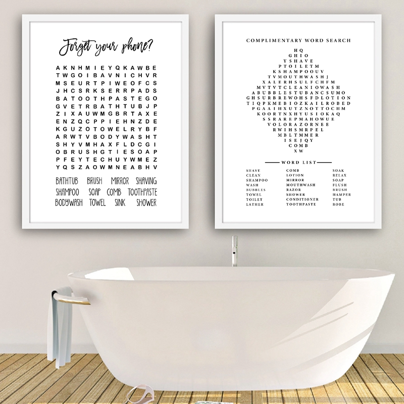 Bathroom Word Search Canvas Prints Wall Art Decor