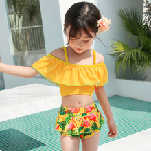 new summer baby swan swimsuit fashion ruffle flamingo kids swimsuit cute baby beach wear with matching hat free shipping yz066 2019 Children's Yellow Swimsuit Split Lotus Leaf Girl Ruffle Baby Cartoon Flamingo Flat Angle Princess Set Summer Hot Beach-wear