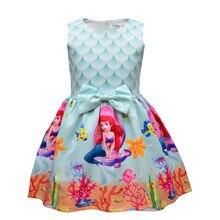 Cute Fish Scale Princess Girls Mermaid Printing Dress Kid Girls Princess Shortsleeve Cartoon Print Dress Children Summer Clothes girls fish scales print dress with pants