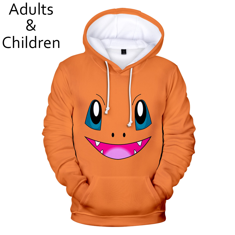 New Popular 3D Pokemon Fashion Anime Men And Women Hoodies Children Spring And Autumn Casual Pullovers Kids Yellow Sweatshirts