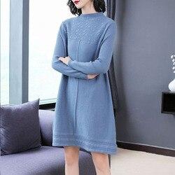 WYWAN 2019 Otoño Invierno mujeres suéteres vestidos o-cuello minimalista tops moda estilo coreano tejer vestidos casuales sólidos