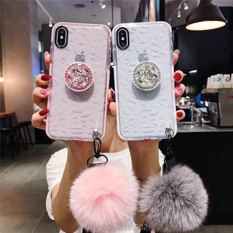 Coque avec pompon en fourrure pour iPhone, pour modèles 12, Mini, 11 Pro, XS Max, XR, XS, X, 6, 6s, 8, 7 Plus, SE 2020, tendance