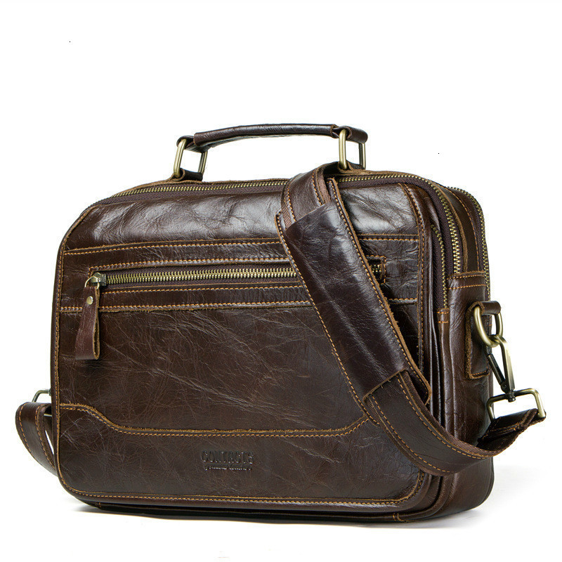 New Leather Laptop Messenger Men Bags Single Shoulder Package Head Layer Cowhide Oblique Wind Satchel Designer Briefcases Duffel