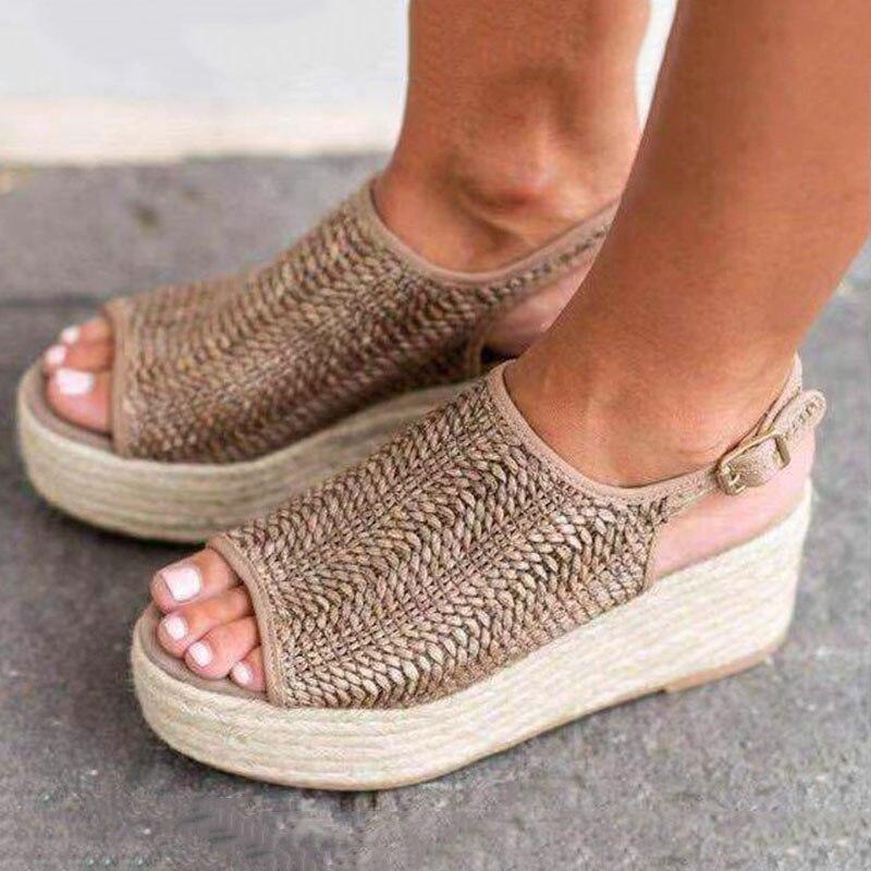 Summer Women Sandals Peep Toe Platform Sandals With 6CM Wedges Shoes Women Summer Sandals High Heels Shoes