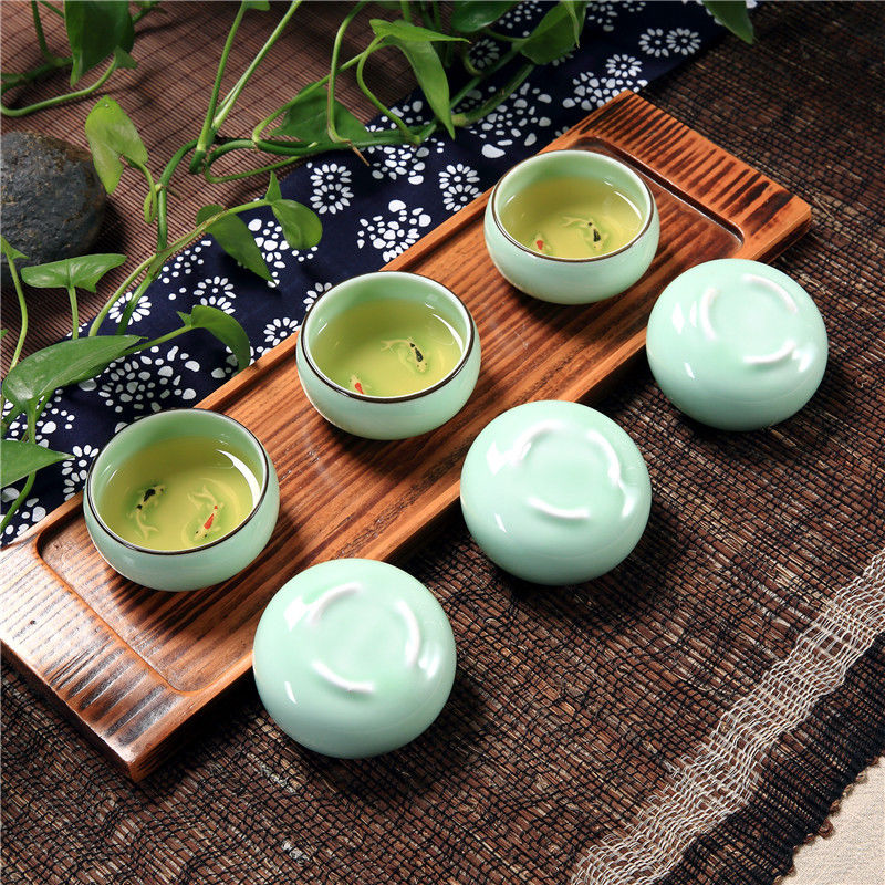 [GRANDNESS] Longquan Celadon Cup Ceramic Kungfu Teacup Tea Cup Double Fish 30ml