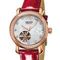 FRANKREICH Luxus Marke AILUO frauen Uhren Lederband Japan Automatische Mechanische Armbanduhr Frauen Sapphire Kristall Uhr A6081