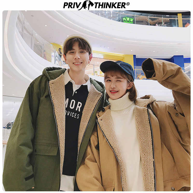 Privathinker Men Woman Lamb Cashmere Warm Jackets Parkas Couple Winter Thick Hooded Windbreaker Coat Male 2019 Fashion Parka