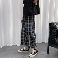 Spring Plaid Pants Men's Fashion Retro Casual Pants Men Streetwear Wild Hip Hop Loose Elastic Waist Straight Trousers Mens M-2XL