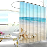 Top Selling 72 x 72 inches Waterproof Beach Theme Bathroom Shower Curtain With Hooks Machine washable