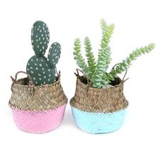 Planter Storage-Baskets Flower-Pot Laundry-Straw Wicker Rattan Seagrass Bamboo Patchwork