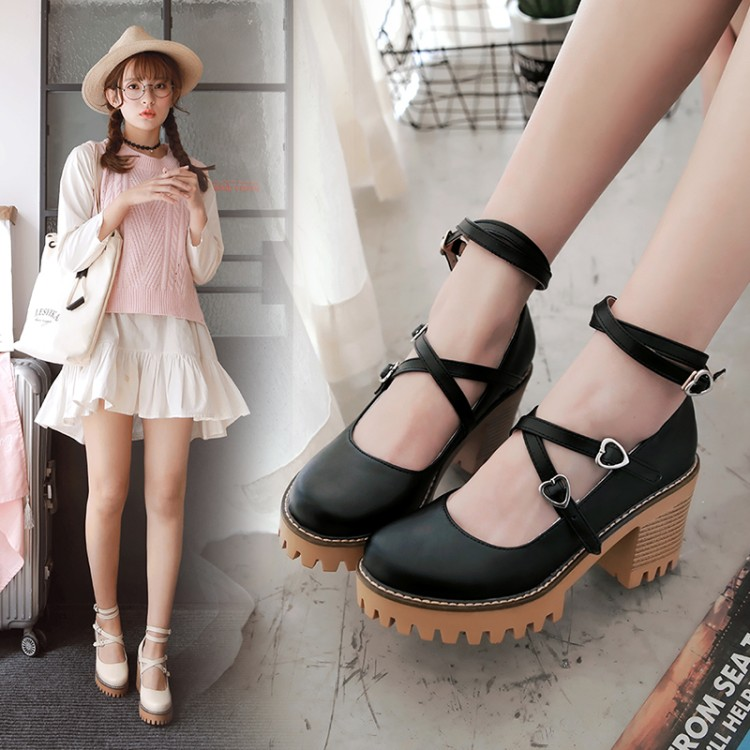 Japanese Loli Daily Sweet Lolita Shoes Round Head Thick Heel Cross Bandage Women Shoes Shallow Mouth Kawaii Shoes Cosplay
