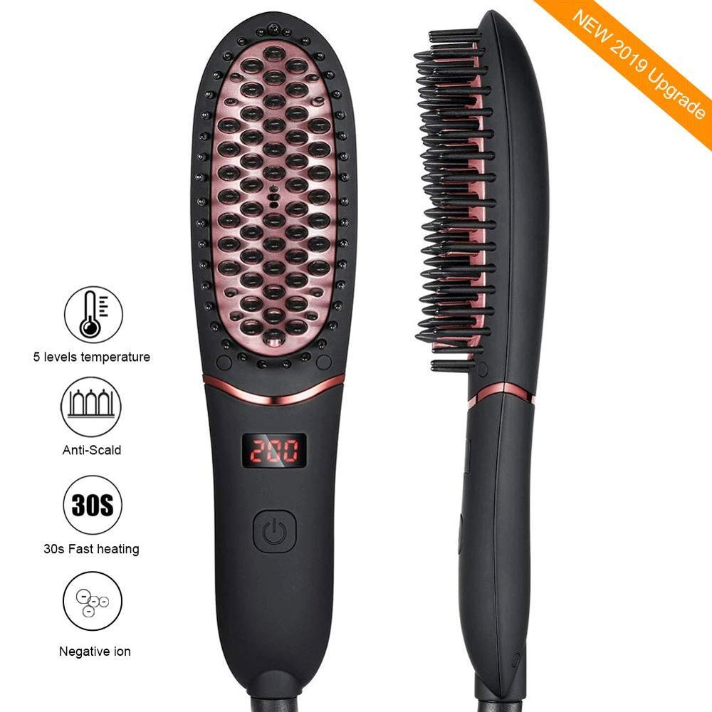 Beard Straightener Brush Hair Straightening Brush with Cordless Anti Scald Auto Shut Off Mini Sized for Travel Home 2 in 1 Brush