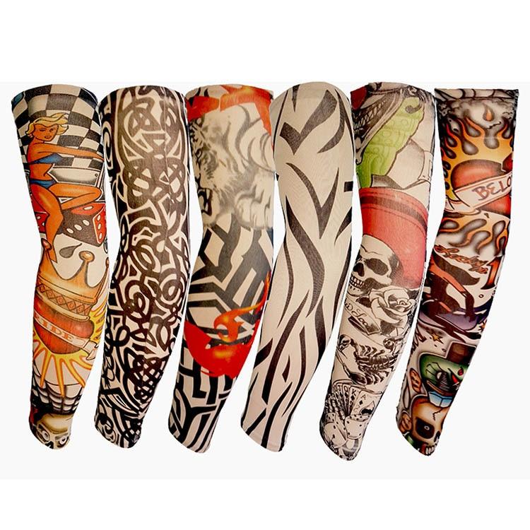 Newly 6/10/20Pcs Nylon Elastic Fake Temporary Tattoo Sleeve Body Arm Tatoo Supplies FIF66