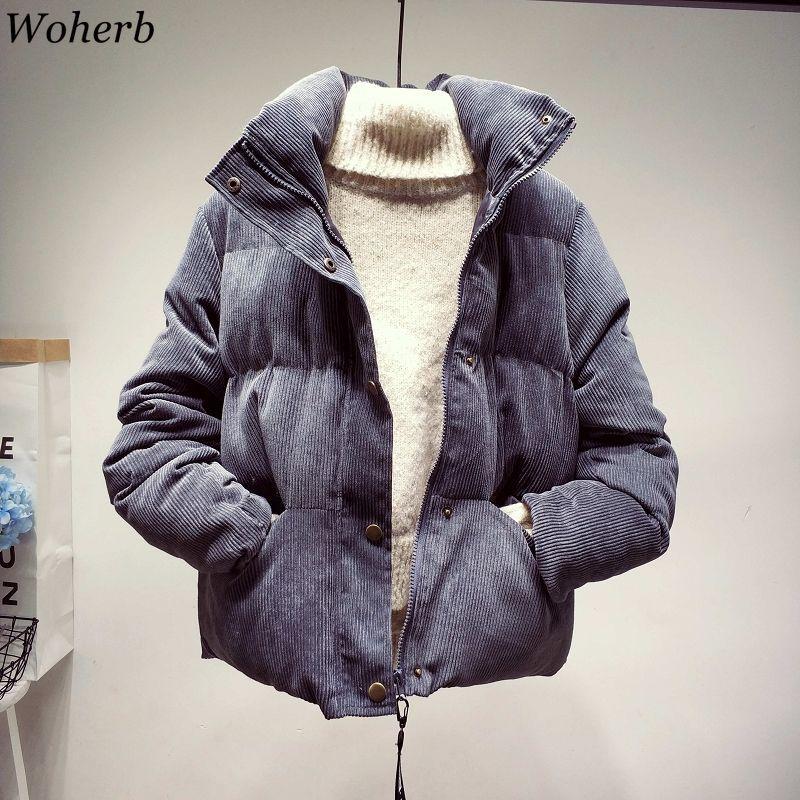 Woherb Corduroy Thick   Parka   Overcoat Winter Fashion Outerwear Coats Women 2019 Korean Streetwear Stand Neck Jacket Coat Female