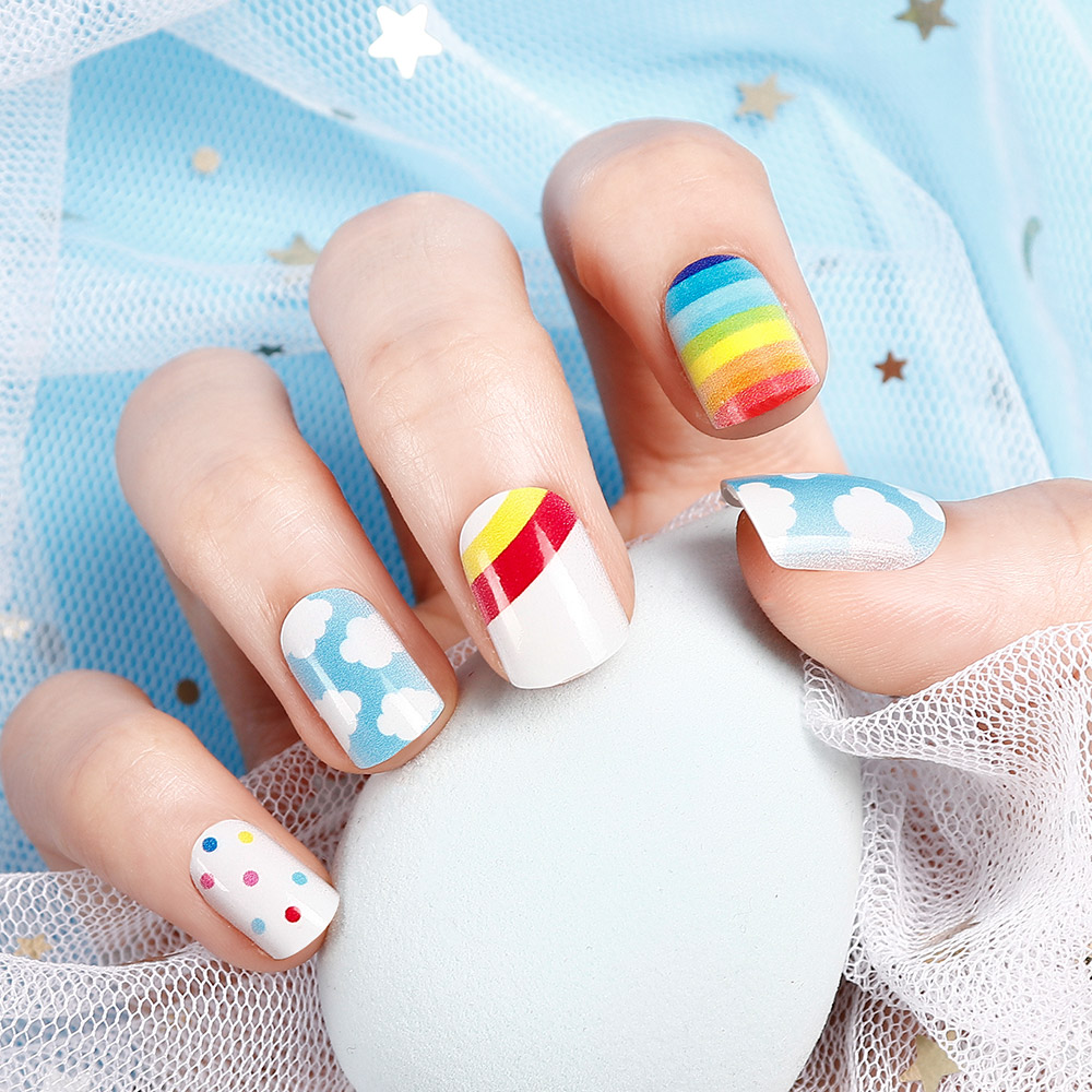 24PCS Child Small False Nail Little Fingers Fake Nail Little Miss Short Nails Girl Full Cover Fake Nail Lovely Cartoon Nail