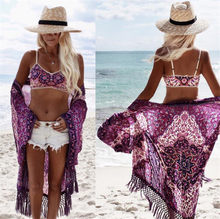 Melphieer New Sexy Chiffon Purple Tassel Beach Cover Up Bikini Women Swimsuit Cover-up Dress Tunic Robe Bathing Suit Swimwear(China)