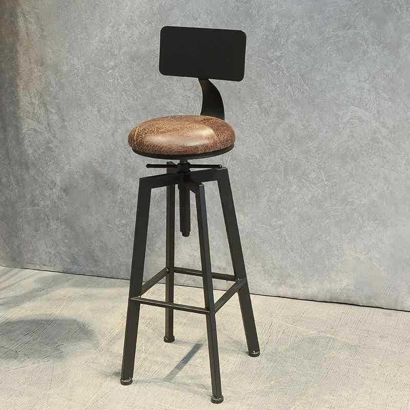 Nordic Eisen Bar Stuhl Industrielle Wind Rotierenden Barhocker Inländischen Lift Bar Stuhl Massivholz Hohe Stuhl Rückenlehne Hocker