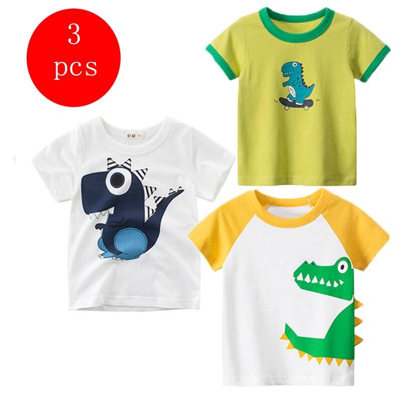27kids 3pcs/lots 27kids 3pc Dinosaur Pattern Boys T Shirt for Kids Baby's Tops t-shirt Cotton Children Short Sleeve Clothes 2