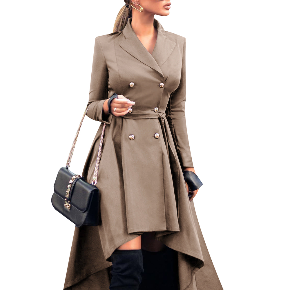Autumn And Winter Women's Lapel Long Sleeve Double-breasted Lace Up Irregular Trench  Was Thin And High  2020 New Coats