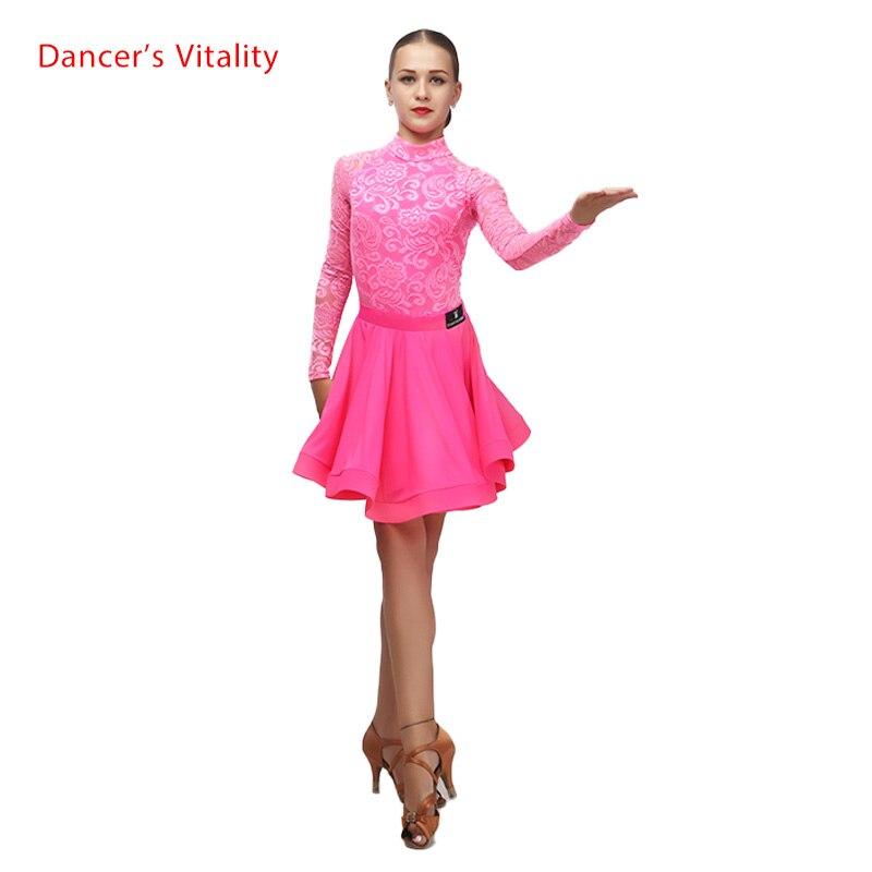 New lace girls latin dance costumes senior long sleeves top+short skirt 2pcs girls latin dance suit for girls latin dance suits