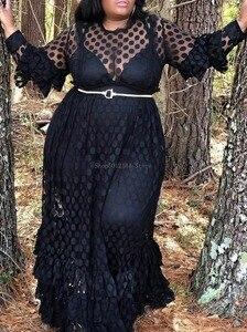 Женское длинное платье в горошек размера плюс Вечерние черные летние платья в африканском стиле, повседневное Сетчатое платье с оборками и ...