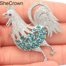 36x47mm Gorgeous Rooster Rich Blue Aquamarine  Tourmaline CZ Gift Silver Brooch