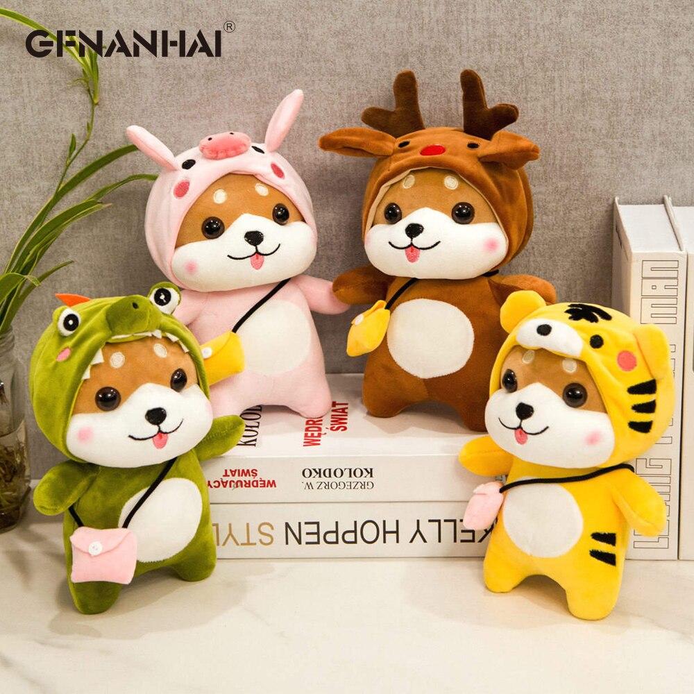 1pc 28/40/50CM Cute Shiba Inu Turn to Elk Crocodile Pig Plush Toys kawaii Standing Animal Dog Plush Dolls Stuffed Toys for Child
