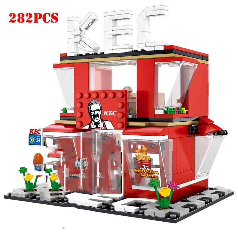Street Hamburger Cafe Retail Convenience Store Architecture Building Blocks Compatible Legoed Technic City Street View Brick Toy 3