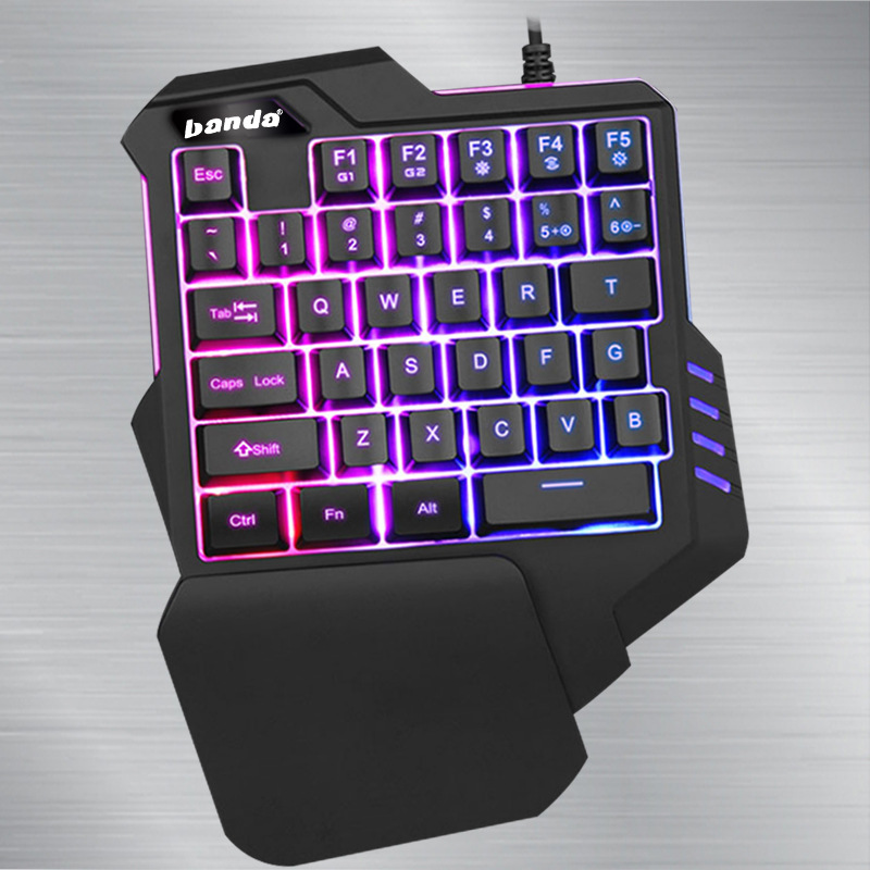 Colorful KB-11 One-Handed Keyboard Cable Hand Travel Chicken Useful Product E-Sports Gun Throne Left Hand Gaming Keyboard