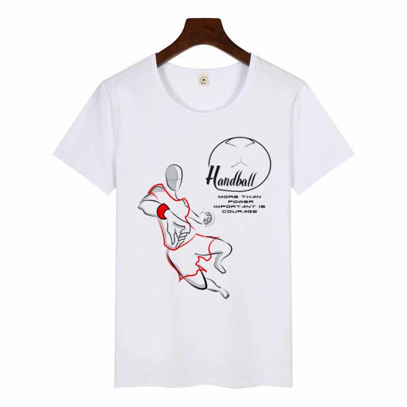 2019 di Nuovo Modo di T-Shirt Donna/uomo Giocare a Pallamano Top Stampa Magliette Estate Unisex Casual Manica Corta T Shirt O-Collo bianco Tee Shirt