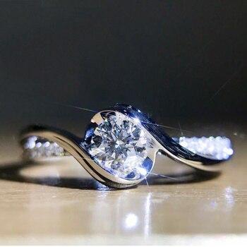 새로운 925 스털링 실버 반지 캐럿 하트와 화살표 지르콘 반지 여자 매력 보석 선물