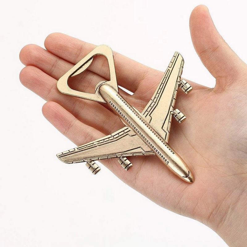 """Let the Adventure Begin"" Antique Gold Airplane Wine Bottle Opener Destination Wedding Favors Aircraft Beer Cap Openers  10PCS-in Party Favors from Home & Garden    2"