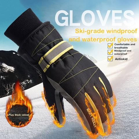 Luvas de Esqui Toque à Prova Água à Prova Unisex Inverno Tela Dwindproof Vento Equitação Motocicleta Proteção Fria Mais Veludo Algodão Grosso
