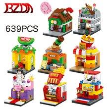 BZDA City Mini Street View Building Blocks BBQ Candy Pizza gelato negozio di libri MOC giocattoli per bambini per ragazze regali di natale