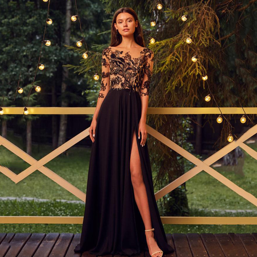 Eightree Black Long Formal Prom Dresses Sheer Neck Lace Appliqued Evening Dress Sexy Long Sleeve High Split Prom Party Gown