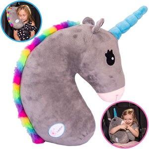Image 2 - תינוק ילד נסיעות Unicorn כרית ילדי ראש צוואר תמיכת להגן על רכב חגורת בטיחות כרית כתף בטיחות רצועת חמוד בעלי החיים כרית