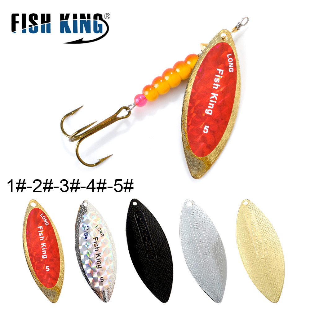 FISH KING Willow Spinner Bait 4.0g/6.6g/11.3g/17.3g/28.3g Copper Size 1#-5# With 35647-BR Treble Hook 1/0#-8# Fishing Lure(China)