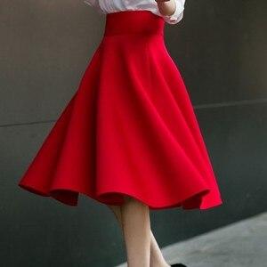 Image 4 - Faldas de talla grande hasta la rodilla para mujer, faldas de talle alto, plisadas, color blanco, rosa, negro, rojo y azul, 2019