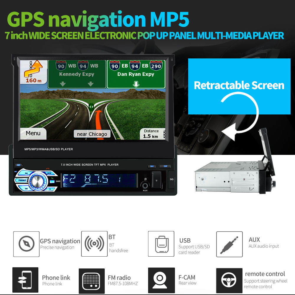 Universal 9601G 7.0 inch TFT LCD Screen 1 Din MP5 Car Multimedia Player with Bluetooth FM Radio GPS European Map Multi-language image