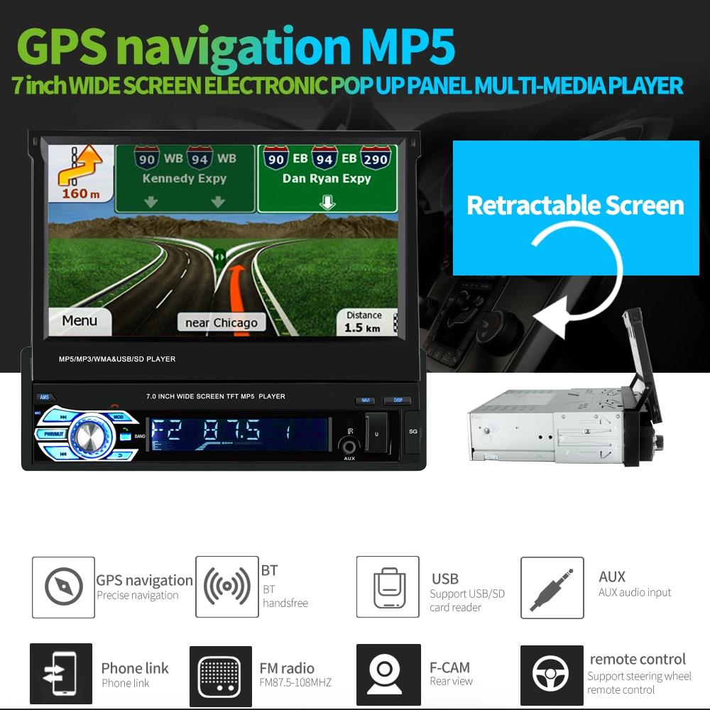 Universel 9601G 7.0 pouces TFT LCD écran 1 Din MP5 voiture lecteur multimédia avec Bluetooth FM Radio GPS carte européenne multi-langue