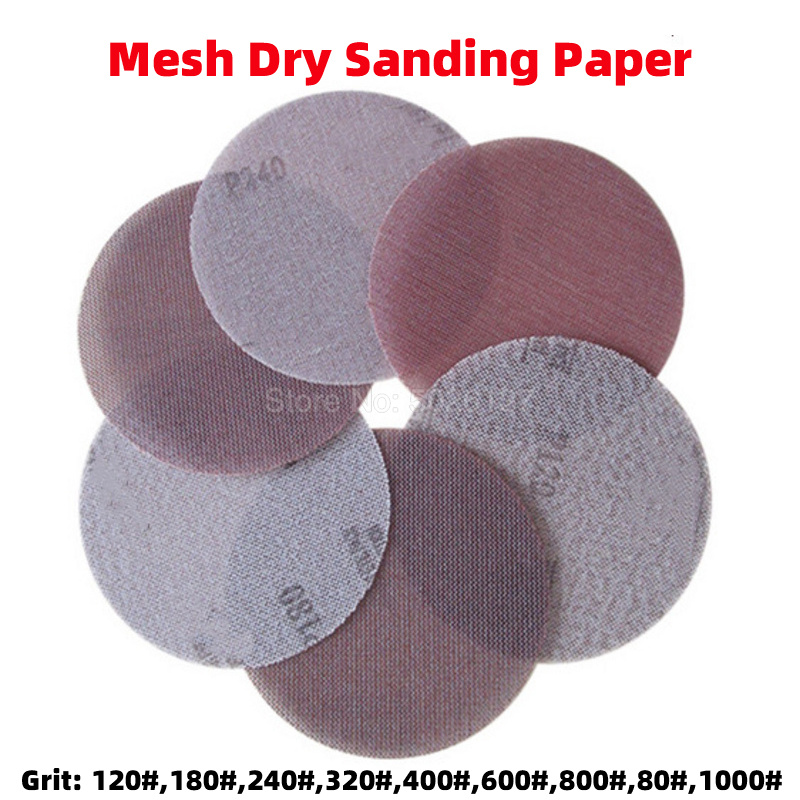 1Pcs 5-Inch 125MM Dry Sand Meshes Round Sandpaper Discs Sheets Self-adhesive Paper Sander Power Tool Flocking Mesh Grit Hook